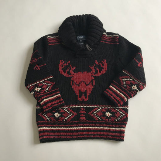 Ralph Lauren Black Intarsia Jumper With Shawl Collar: 3 Years (Brand New)
