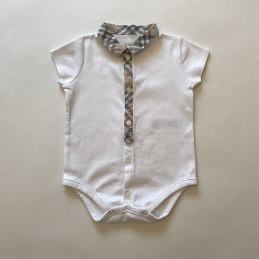 Burberry White Cotton Bodysuit with Burberry Check Trim