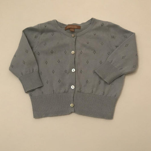 Wild & Gorgeous Duck Egg Blue Cotton Cardigan: 0-6 Months