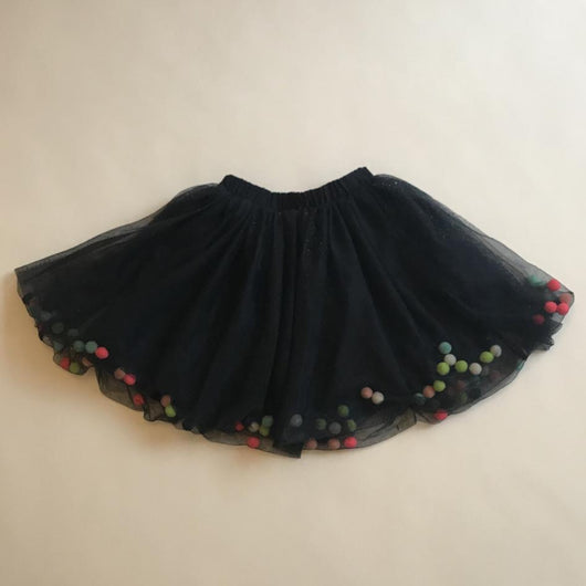 Billieblush Navy Sparkle Tulle Skirt With Pom Poms: 6 Years