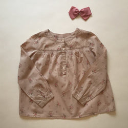 Bonpoint Dusty Pink Floral Blouse With Smocked Neckline