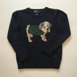 Ralph Lauren Navy Cotton Jumper With Dog Motif
