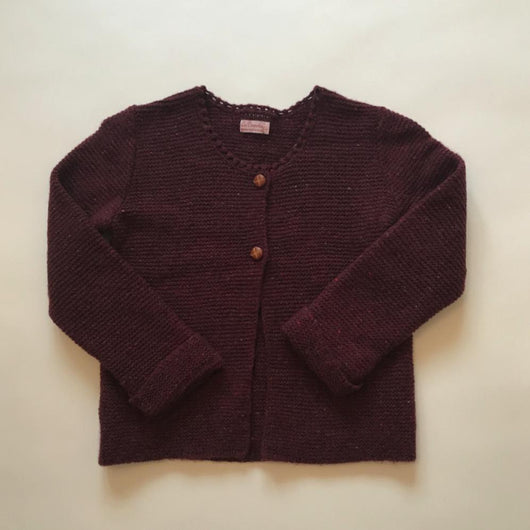 La Coqueta Maroon Wool Mix Cardigan With Leather Buttons: 6 Years