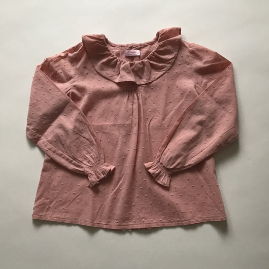 La Coqueta Dusty Pink Swiss Dot Cotton Blouse With Frill Collar
