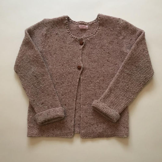 La Coqueta Dusty Pink Marl Wool Mix Cardigan With Leather Buttons