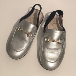 Gucci Silver Slingback Princetown Loafers Size 24