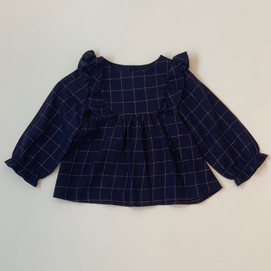 Jacadi Navy And Rose Gold Check Blouse:  18 Months