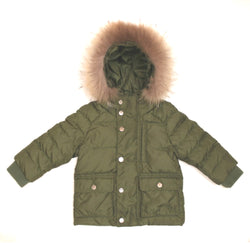 Il Gufo Khaki Down Filled Coat With Fur Trim