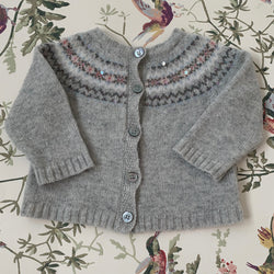Bonpoint Grey FairIsle Merino Wool Cardigan: 6 Months