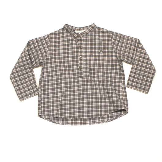 Marie-Chantal Grey And White Check Collarless Shirt