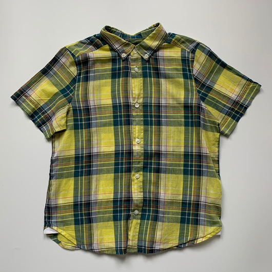 Bonpoint Yellow Check Cotton Short Sleeve Shirt: 10 Years