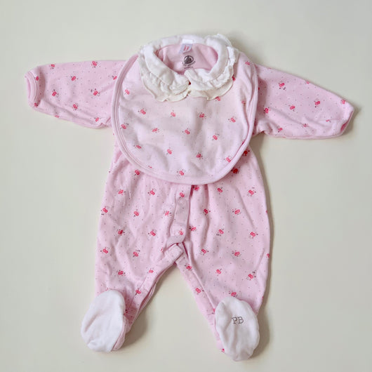 Petit Bateau Pink Floral All-In-One With Matching Bib :3 Months