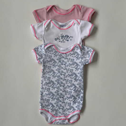 Petit Bateau Set Of Three Short Sleeve Bodysuits : 3 Months