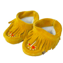 Laurentian Chief Yellow Suede Baby Fleece Lined Moccasins With Fringing: 18-24 Months