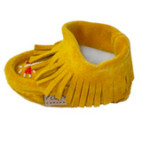 Laurentian Chief Yellow Suede Baby Fleece Lined Moccasins With Fringing