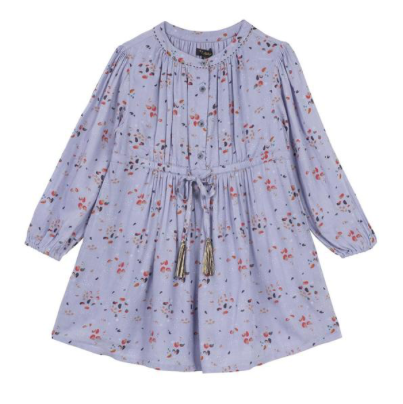 Velveteen Lilac Floral Print Dres With Tassel Belt: 2 & 8 Years