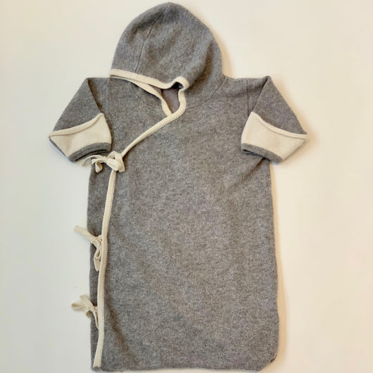 Stellina Baby Grey Cashmere Cardigan/ Pramsuit: 0-6 Months
