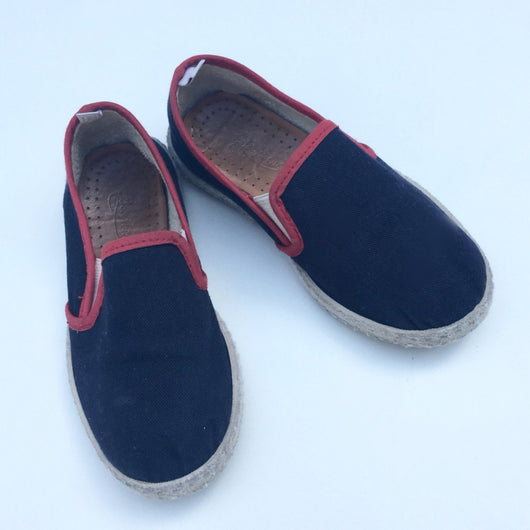 Rivieras For Bonpoint Blue and Red Canvas Slip On Shoes