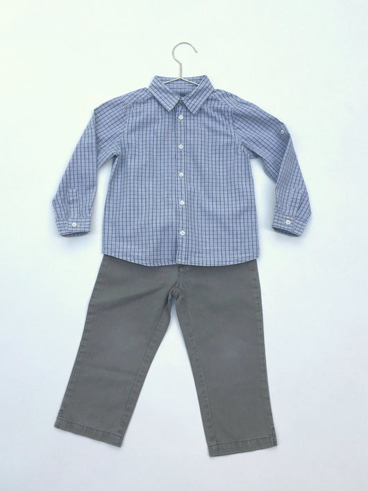 Bonpoint Boy's Khaki Grey Trousers: 4 Years