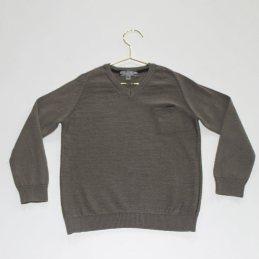 Bonpoint Mushroom Grey Wool V-Neck Jumper