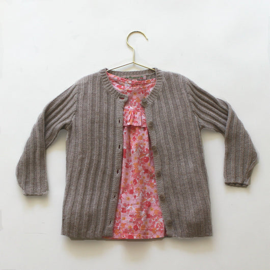 Bonpoint Oatmeal Metallic Ribbed Cardigan