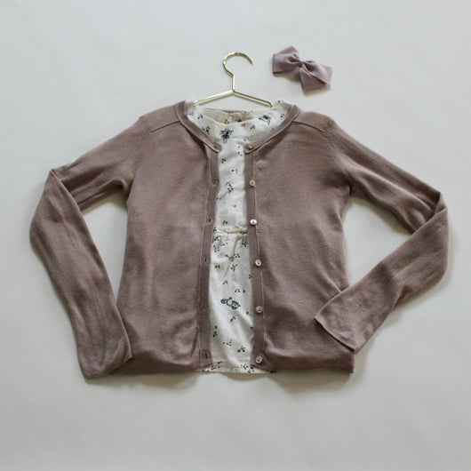 Bonpoint Dusty Pink Lightweight Cotton Cardigan