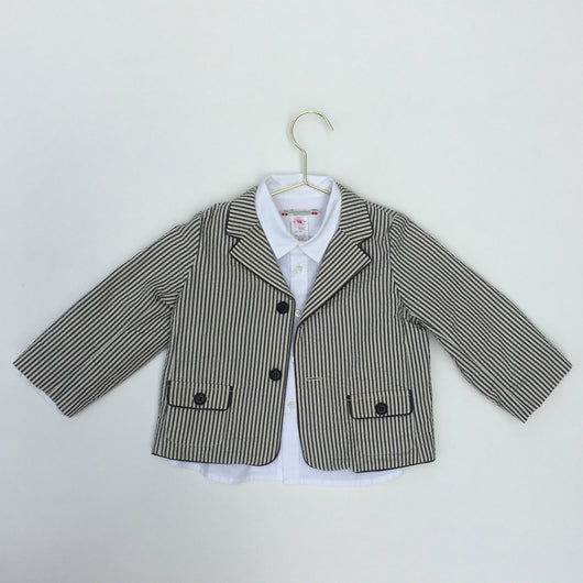 Bonpoint Grey and White Stripe Seersucker Blazer: 18 Months
