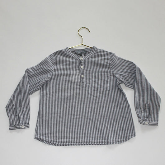 Bonpoint Stripe Collarless Cotton Shirt