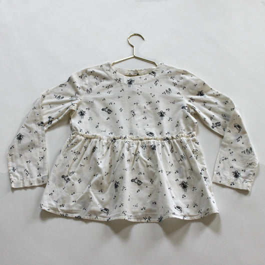 Bonpoint Cream and Black Cherry And Star Print Blouse