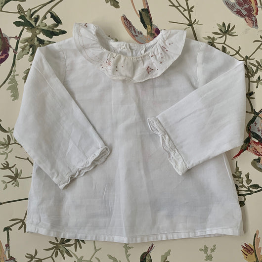 Bonpoint White Blouse With Pretty Collar: 12 Months