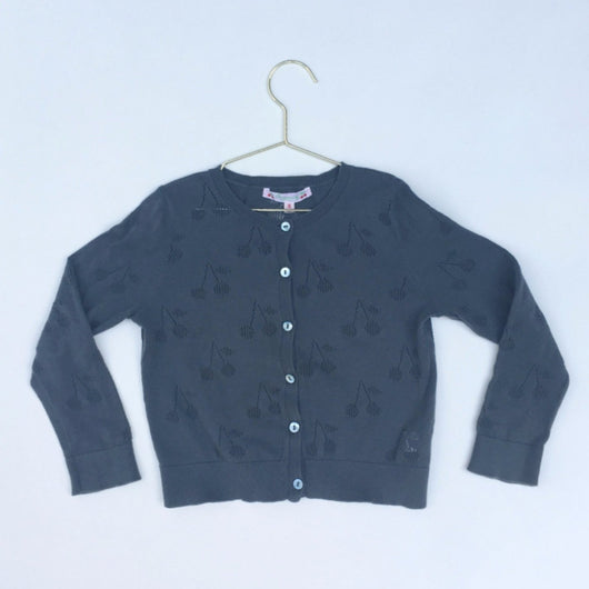 Bonpoint Teal Cherry Print Cotton Cardigan
