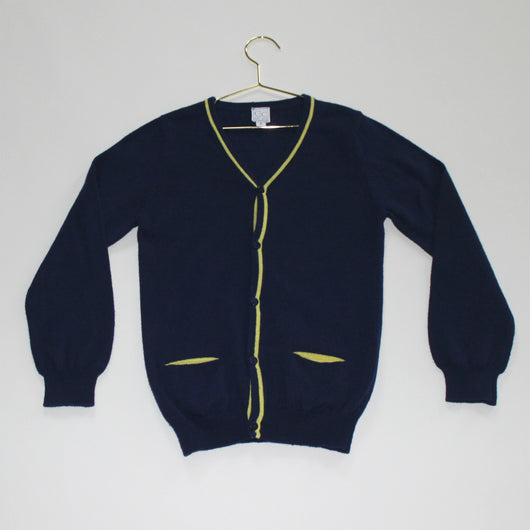 C de C Navy Cardigan With Yellow Trim
