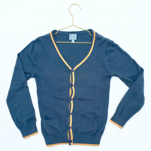 C de C Teal Cotton Cardigan With Contrast Trim: 6 Years