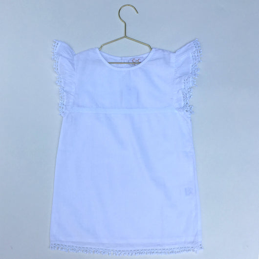 C de C White Cotton Top with Pom Pom Detail