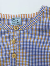 C de C Boys Check Collarless Shirt: 6 Years