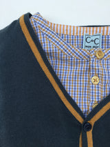 C de C Teal Cotton Cardigan With Contrast Trim