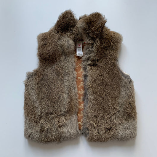 Bonpoint Rabbit Fur Gilet With Floral Lining: 4 Years