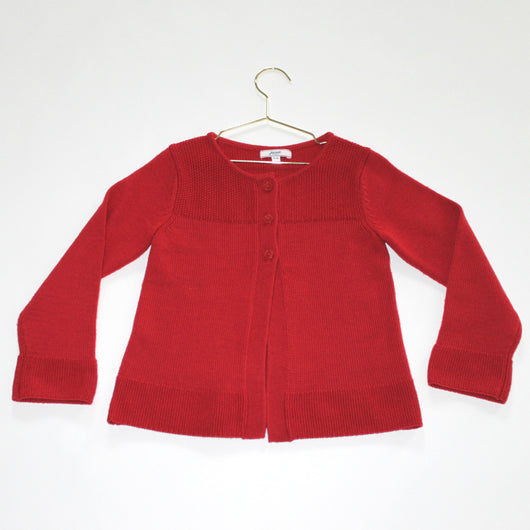 Jacadi Red Wool Girls Cardigan