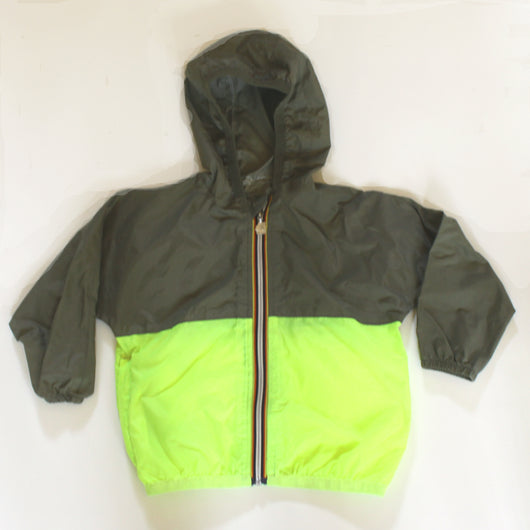 K-Way for Crewcuts Khaki and Neon Packaway Rain Jacket