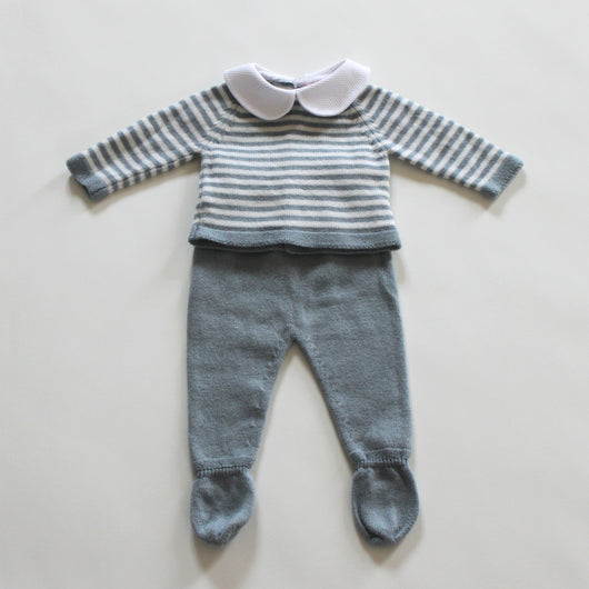 La Coqueta Blue And White Merino Wool Baby Outfit