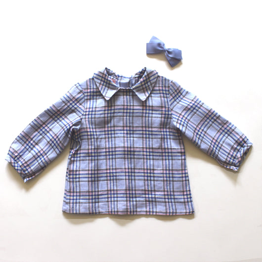 La Coqueta Blue Checked Linen Blouse