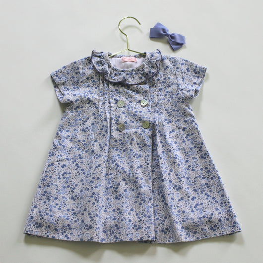 La Coqueta Blue And White Floral Dress with Frill Collar