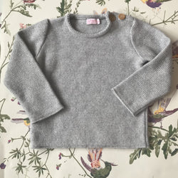 La Coqueta Grey Wool Jumper With Buttons