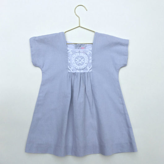 La Coqueta Grey Linen Osuna Dress