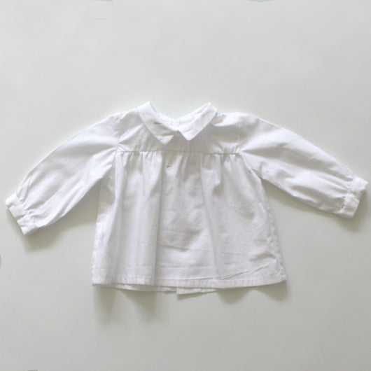La Coqueta White Cotton Blouse With Collar
