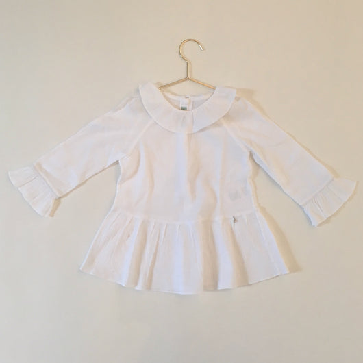 Nanos White Crepe Cotton Blouse With Frill Collar: 4 Years