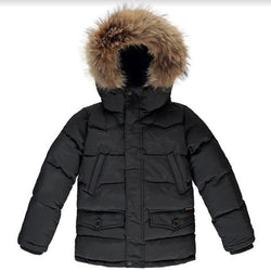 Finger In The Nose Black Fur Lined Down Parka: 10-11 Years (Brand New)