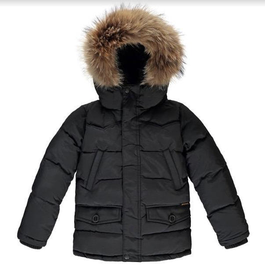 Finger In The Nose Black Fur Lined Down Parka: 8-9 Years (Preloved) & 10-11 Years (Brand New)