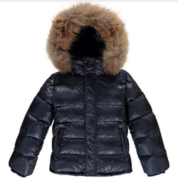 Finger In The Nose Navy Down Parka With Fur Trimmed Hood
