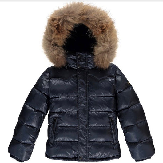Finger In The Nose Navy Down Parka With Fur Trimmed Hood: 10-11 Years (Brand New)